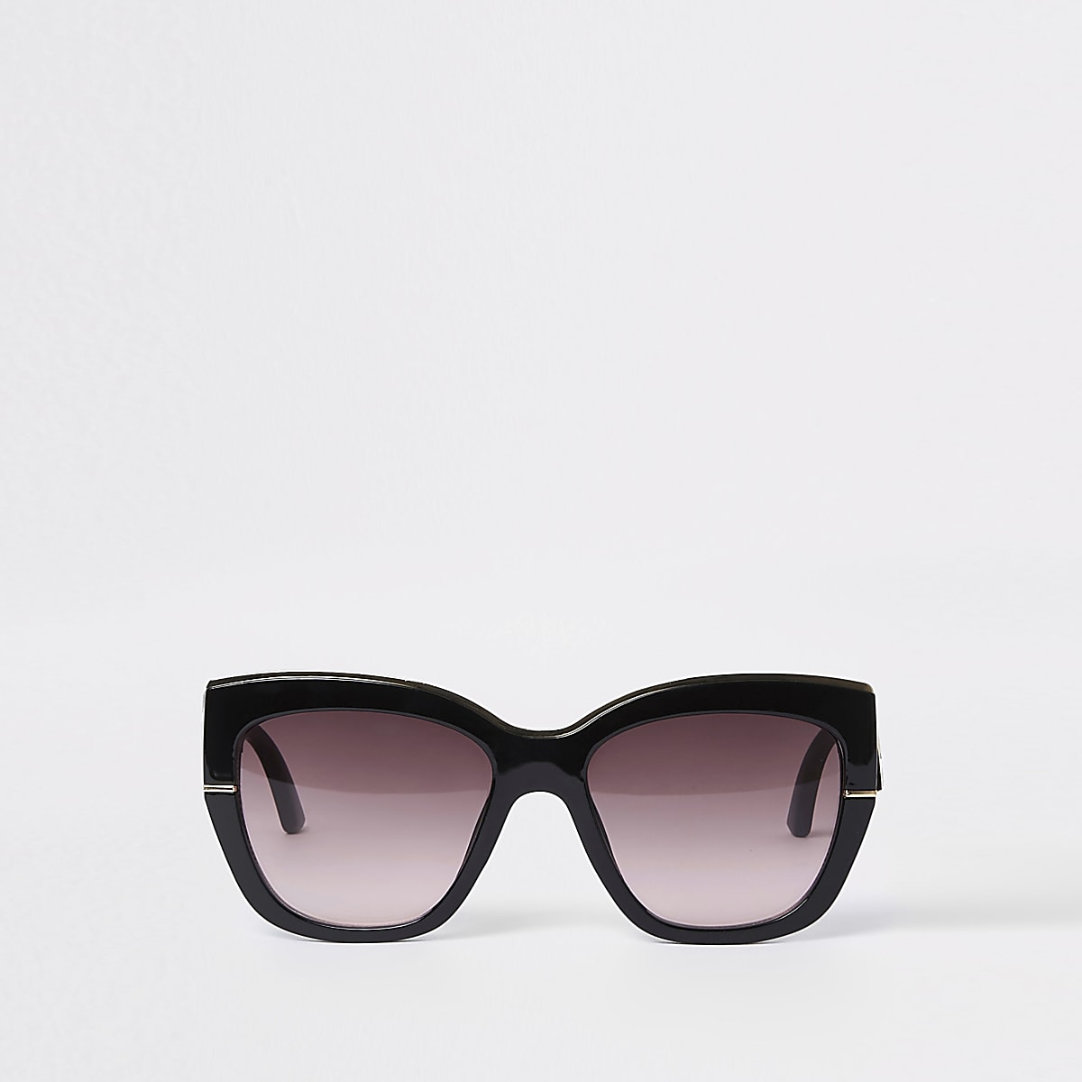 Black gold tone trim glam sunglasses
