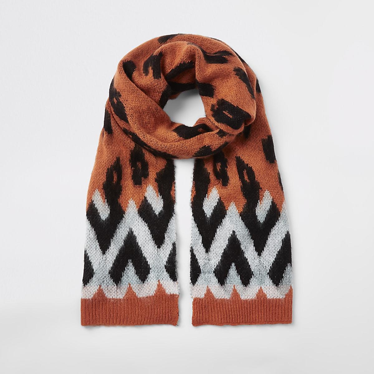 Orange leopard print scarf