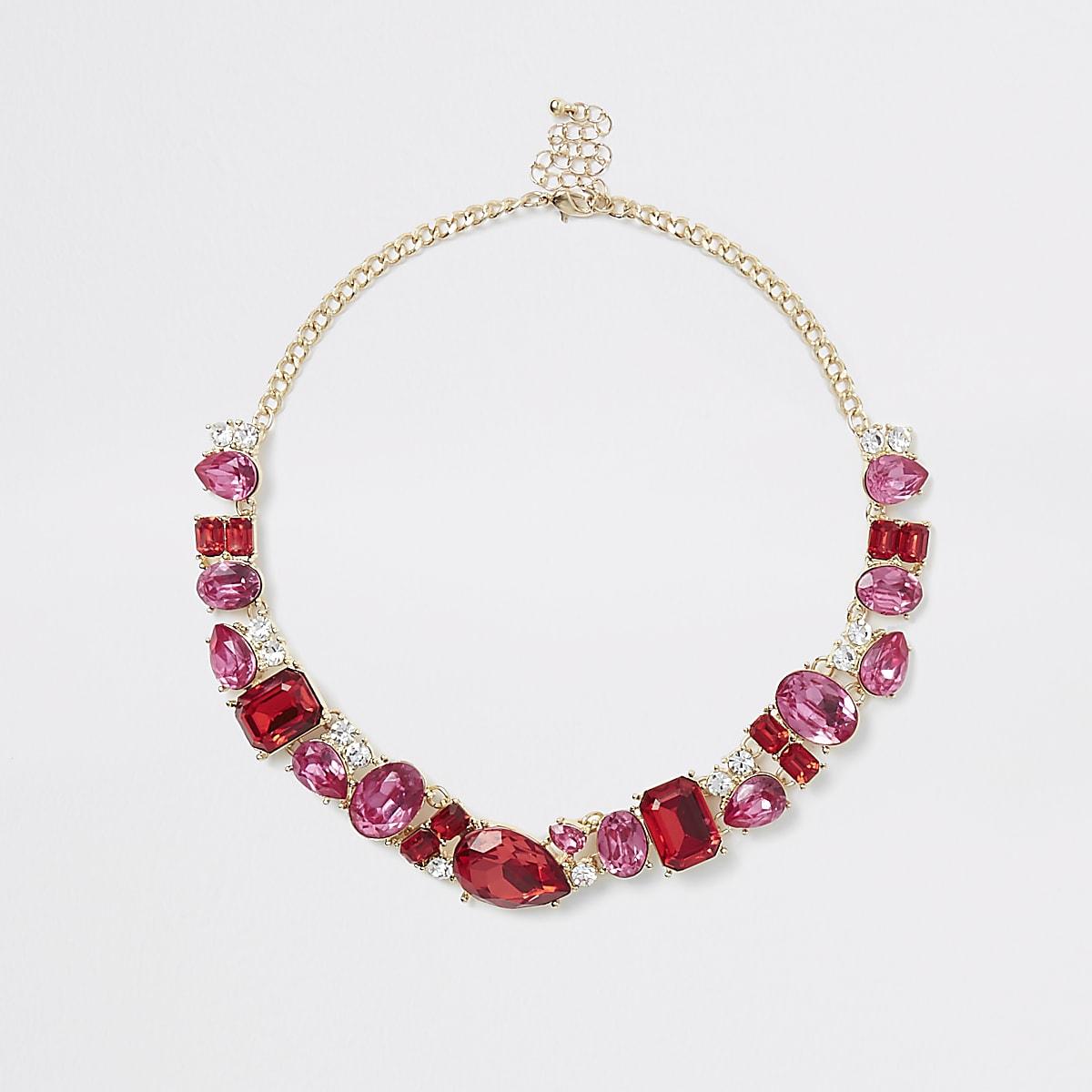 Gold tone pink jewel pendant necklace