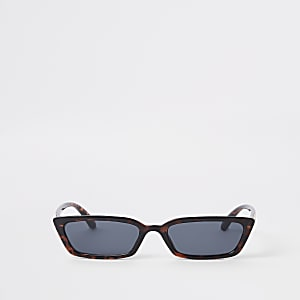 Brown tortoiseshell slim frame sunglasses