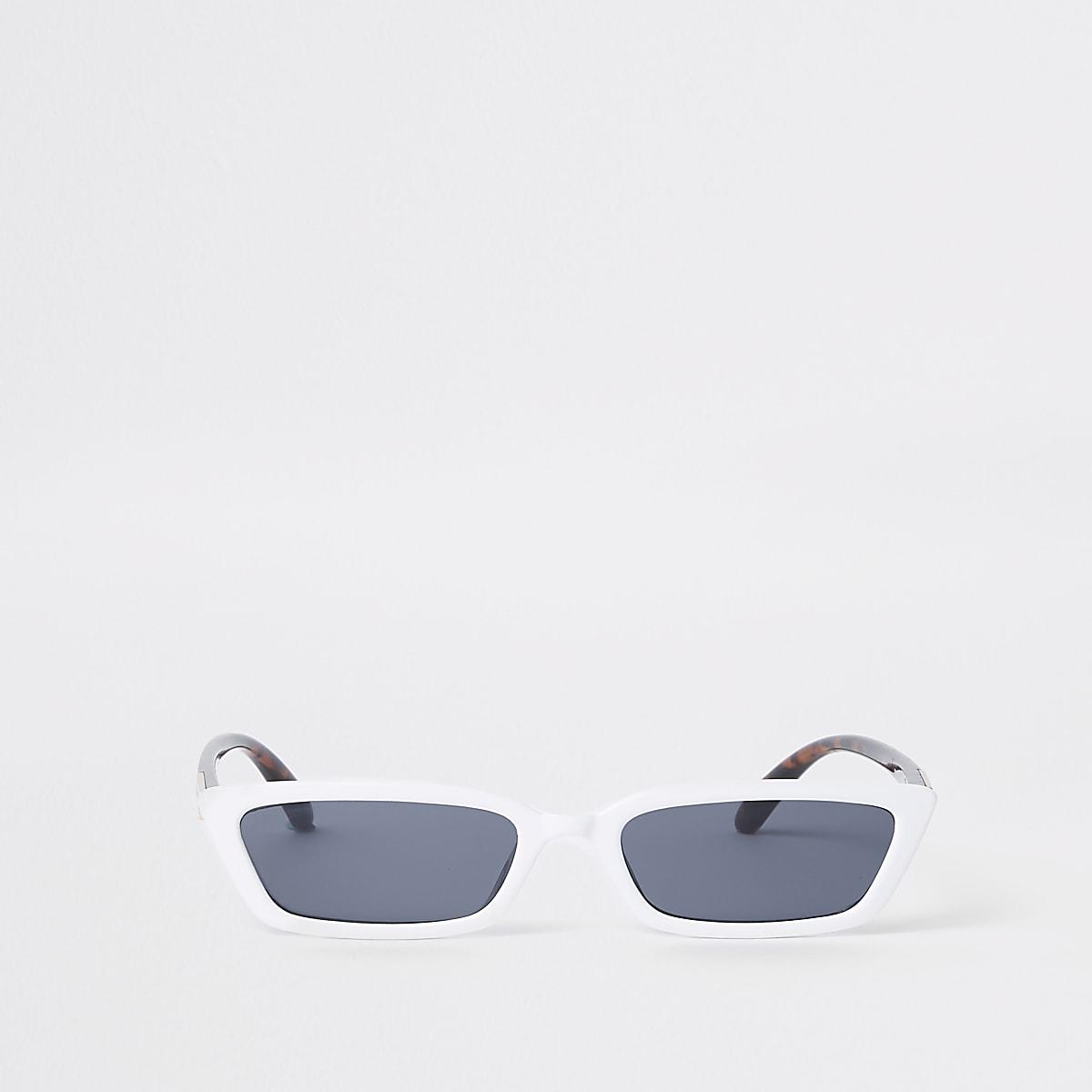 White smoke lens slim frame sunglasses