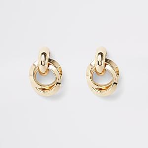 Gold colour hoop twist stud earrings