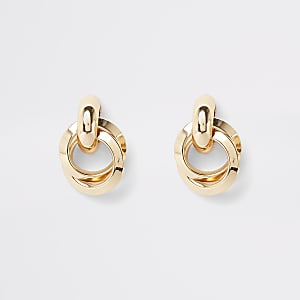 Gold color hoop twist stud earrings