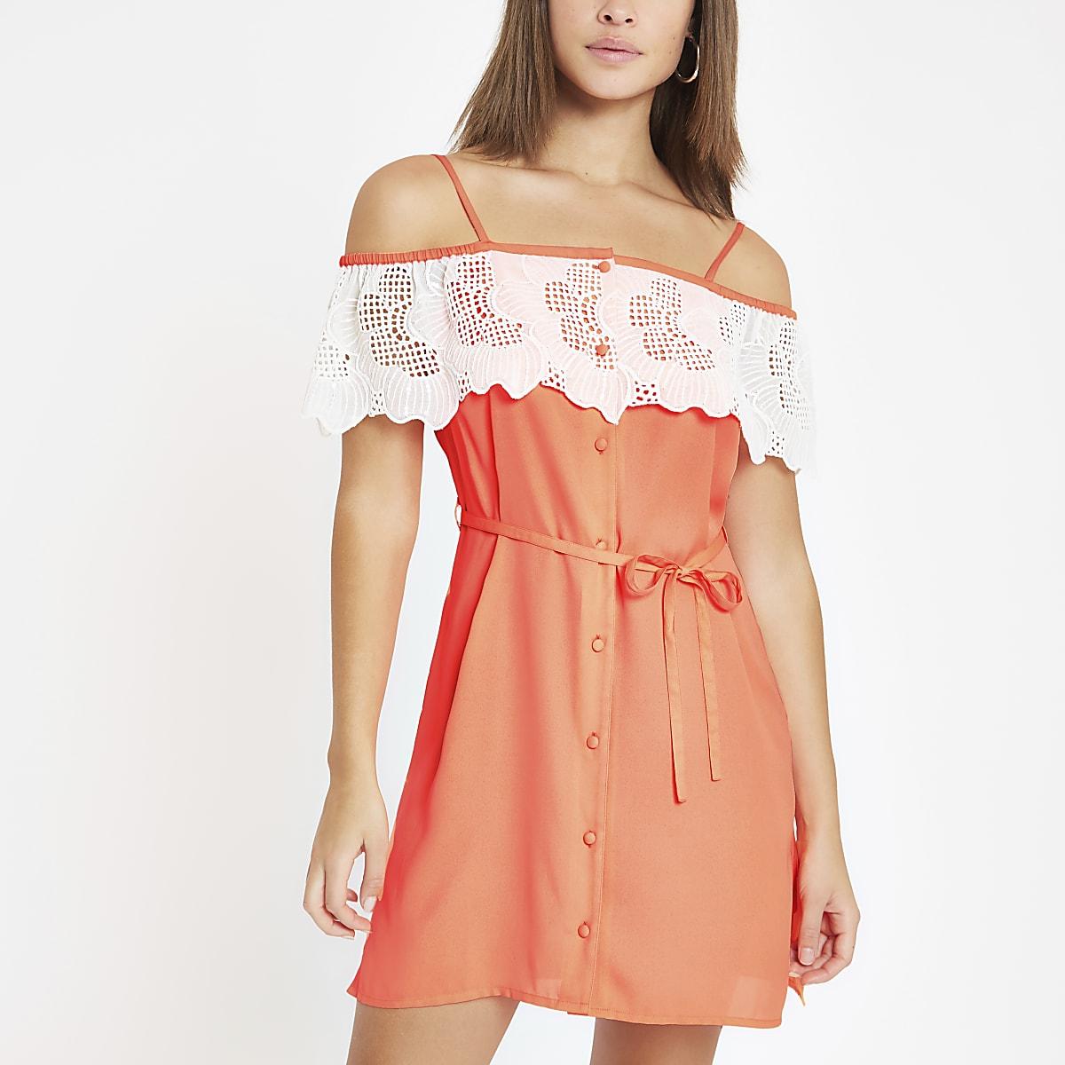 Robe Bardot orange vif avec bordure appliquée