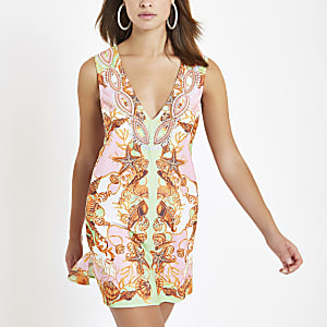 Pink rhinestone embellished beach dress