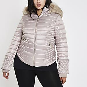 Plus – Manteau matelassé crème ultra brillant à fausse fourrure