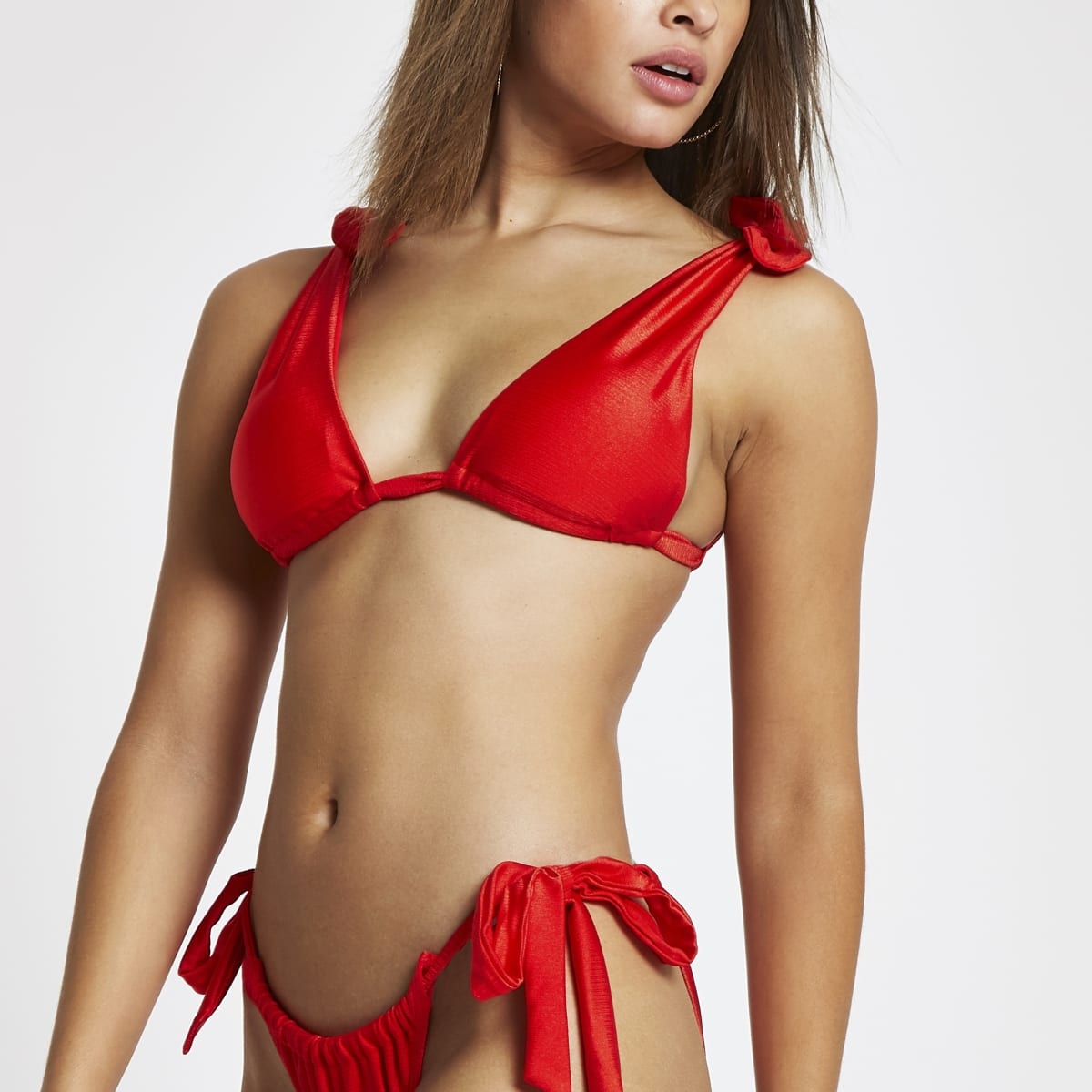 Red bow tie strap bikini top
