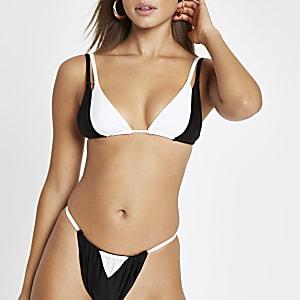 Black colour block bikini bottoms