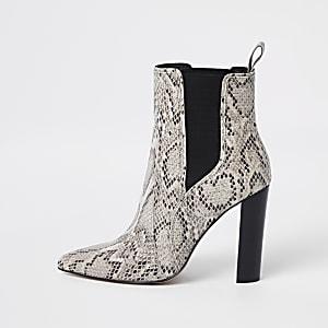 b68e29d414d2 Light brown snake block heel boots