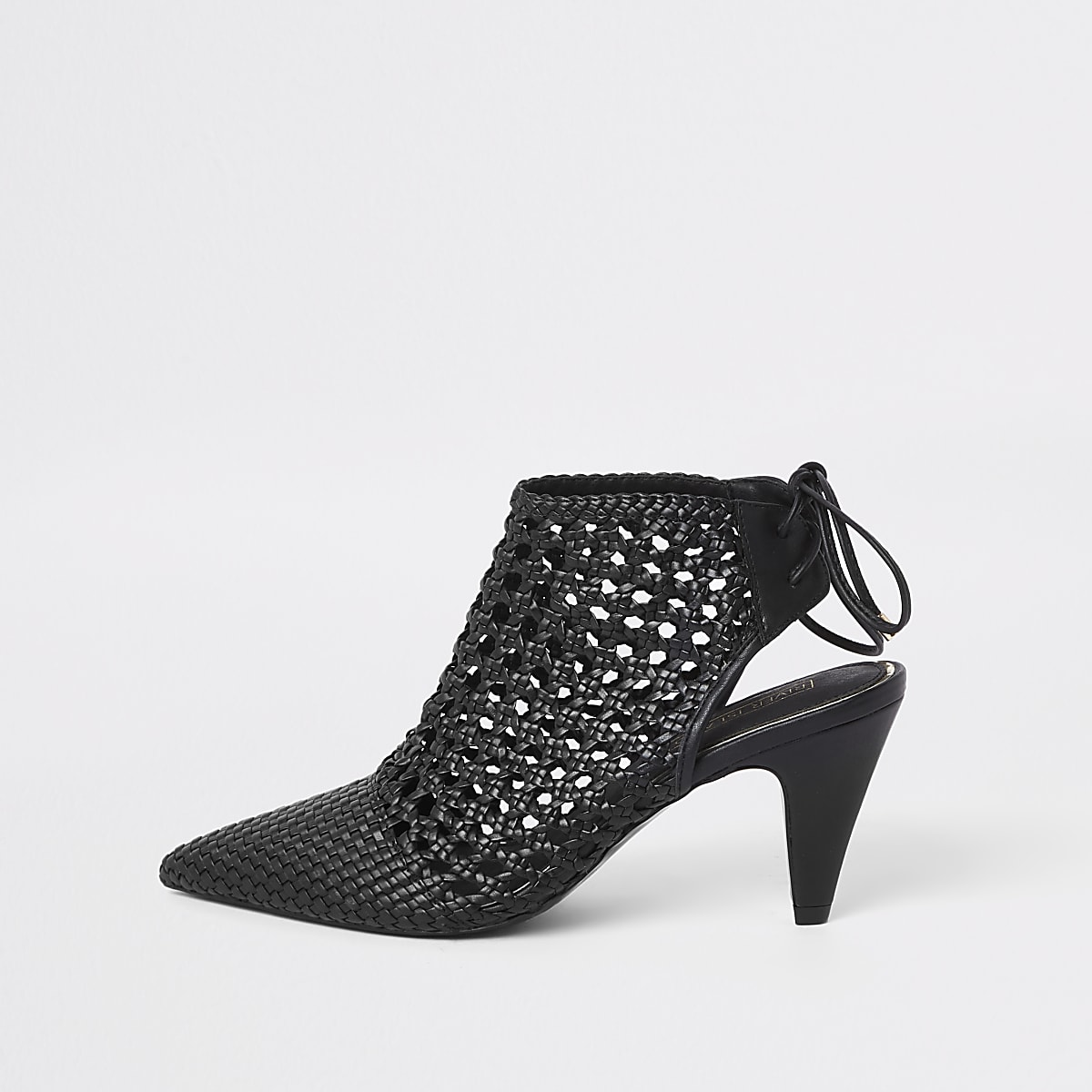 Black leather woven backless boots