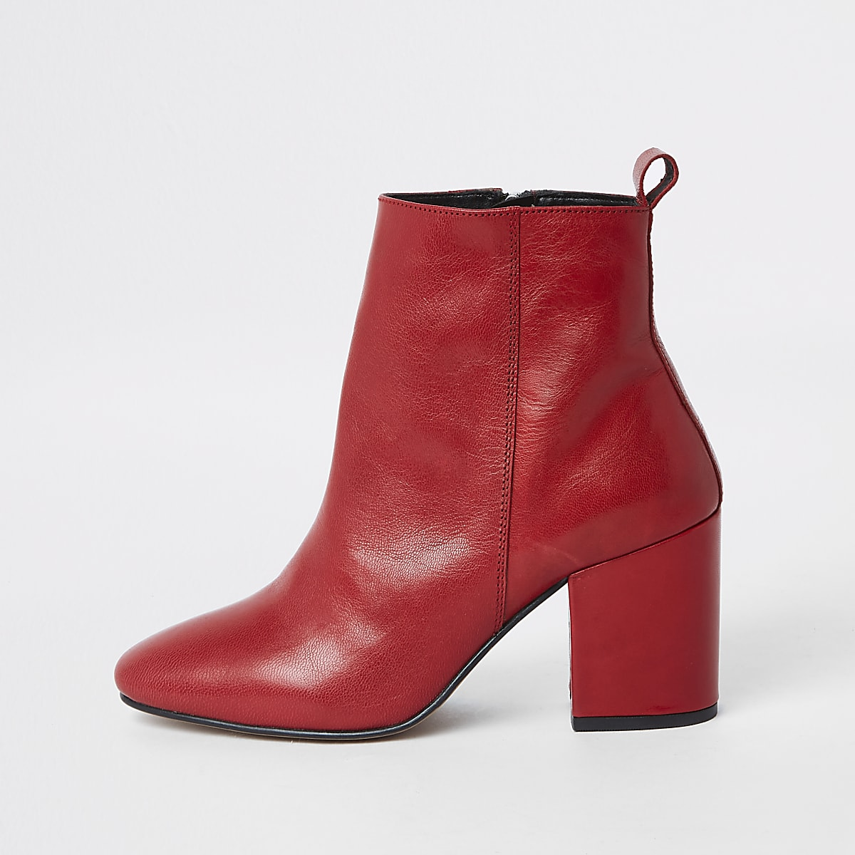 527508feb53e Red leather block heel ankle boots - Boots - Shoes   Boots - women