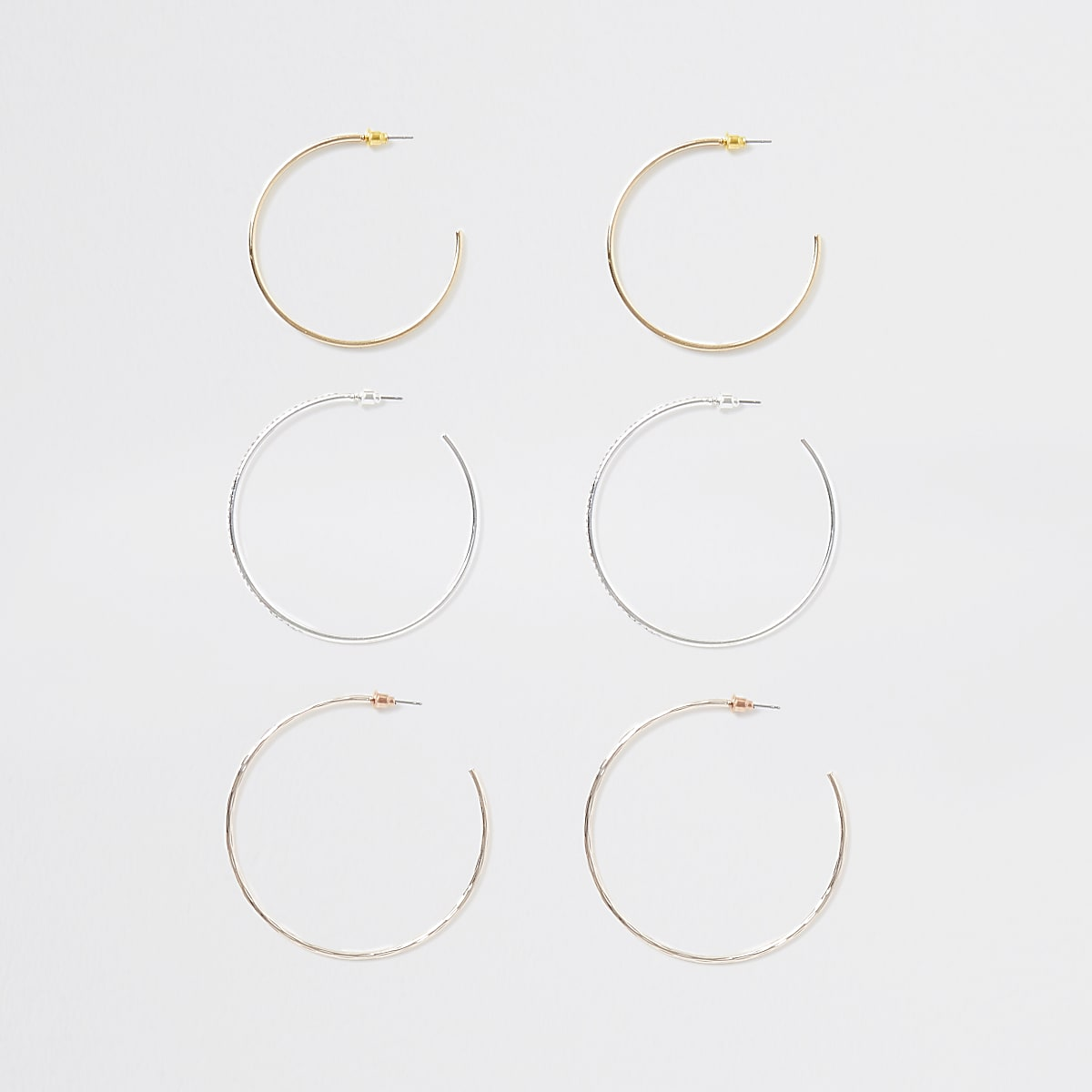 Gold color rhinestone hoop earring multipack