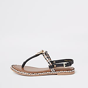 Black leather ring and rope flat sandals