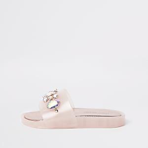 Pinke, verzierte Gummi-Slipper