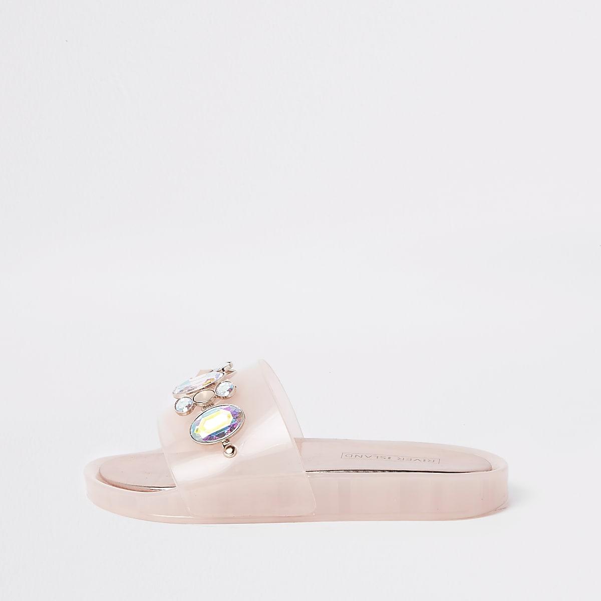 Roze jelly verfraaide slippers