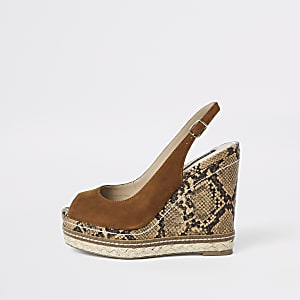 Brown suede snake espadrille trim wedges