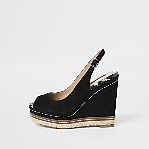 Black espadrille trim slingback wedges