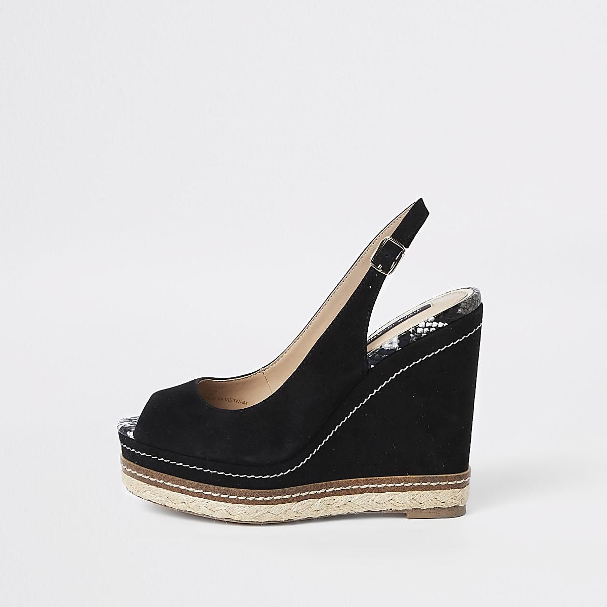 Chaussures compensées noires à bride arrière et bordure espadrille