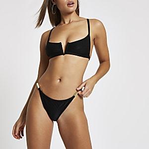 Bas de bikini noir échancré à lanières