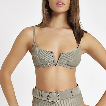 Khaki V wired plunge cami bikini top