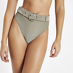 Khaki belted high waist bikini bottoms
