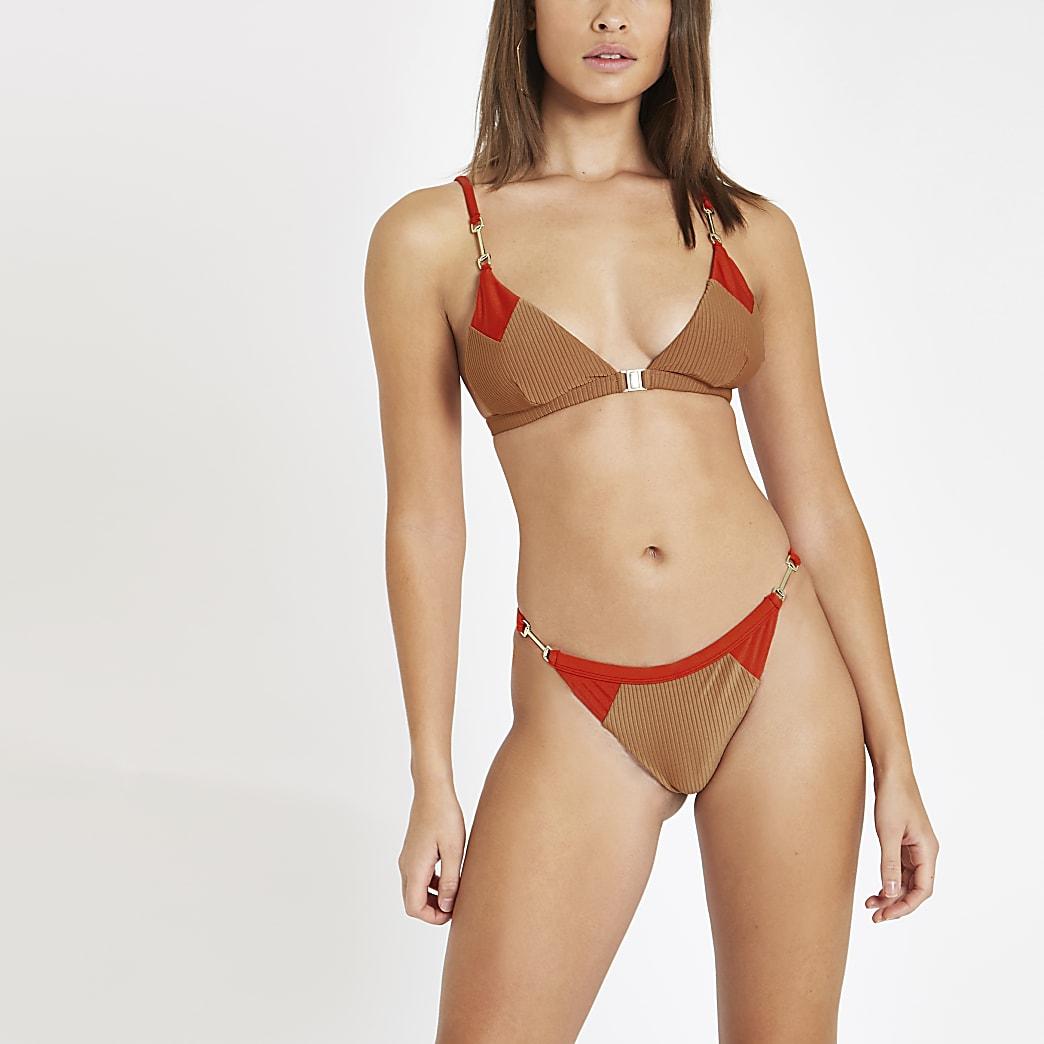 Light brown blocked triangle bikini top