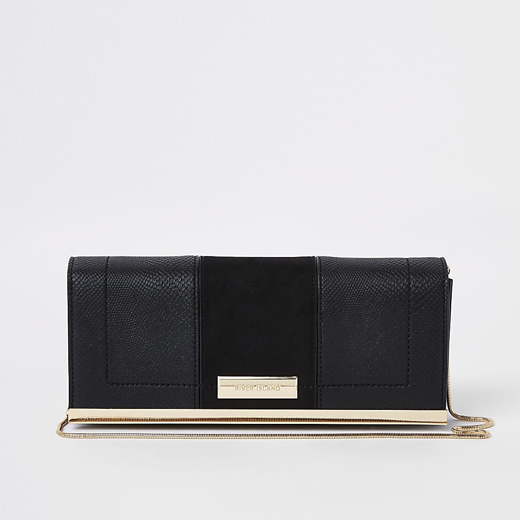 Black panel chain clutch bag