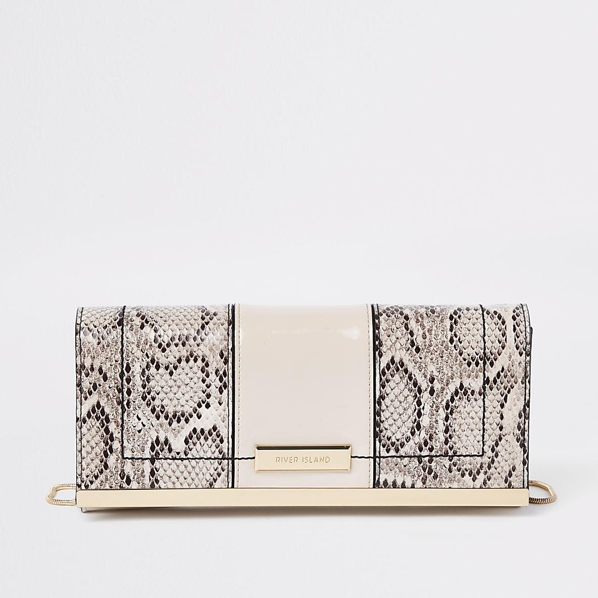 Beige snake print panel chain clutch bag
