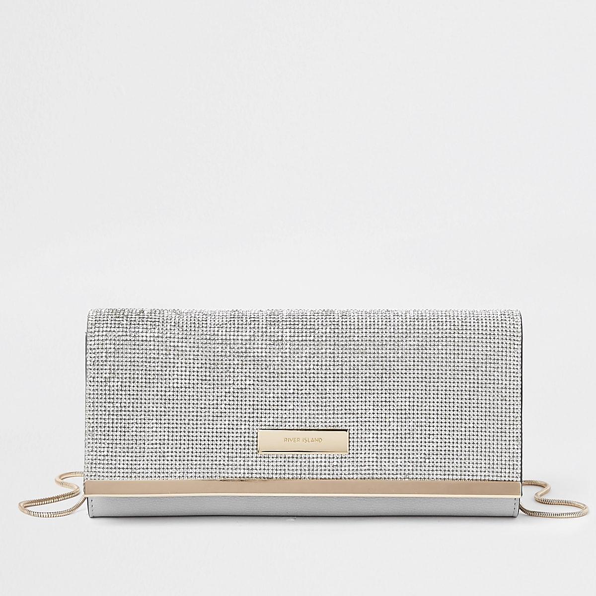 e50eb5c486 Silver diamante RI clutch bag - Clutch Bags - Bags & Purses - women