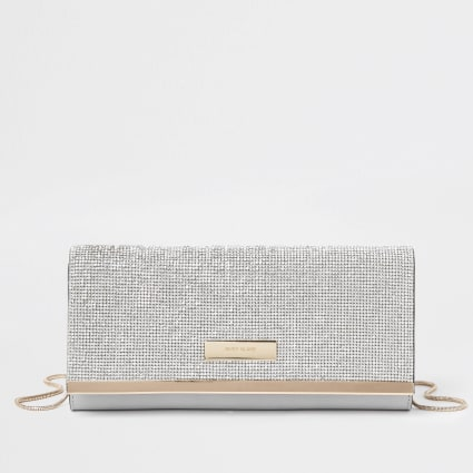 Silver diamante RI clutch bag