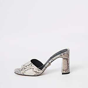 Beige snake print heel mule sandals