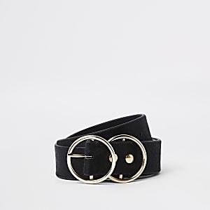 Ceinture pour jean en cuir imitation poney noire à deux boucles