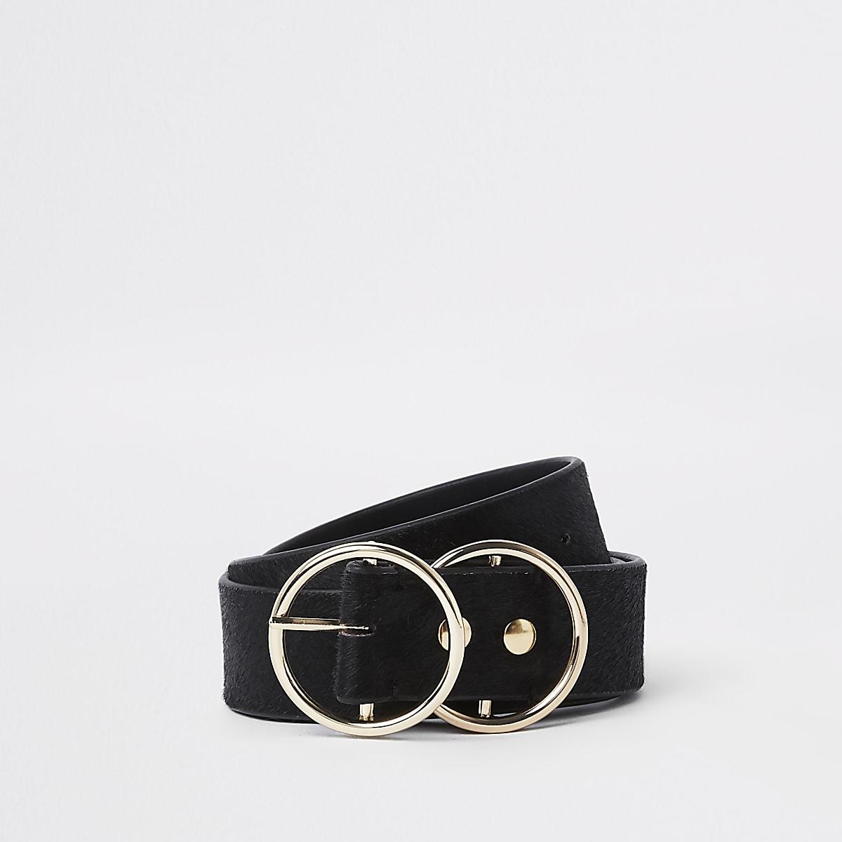 Schwarzer Jeansgürtel aus Leder