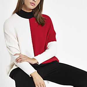 Red ribbed knit colour block jumper