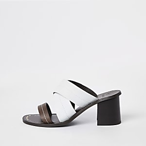 White leather cross heel mule sandals