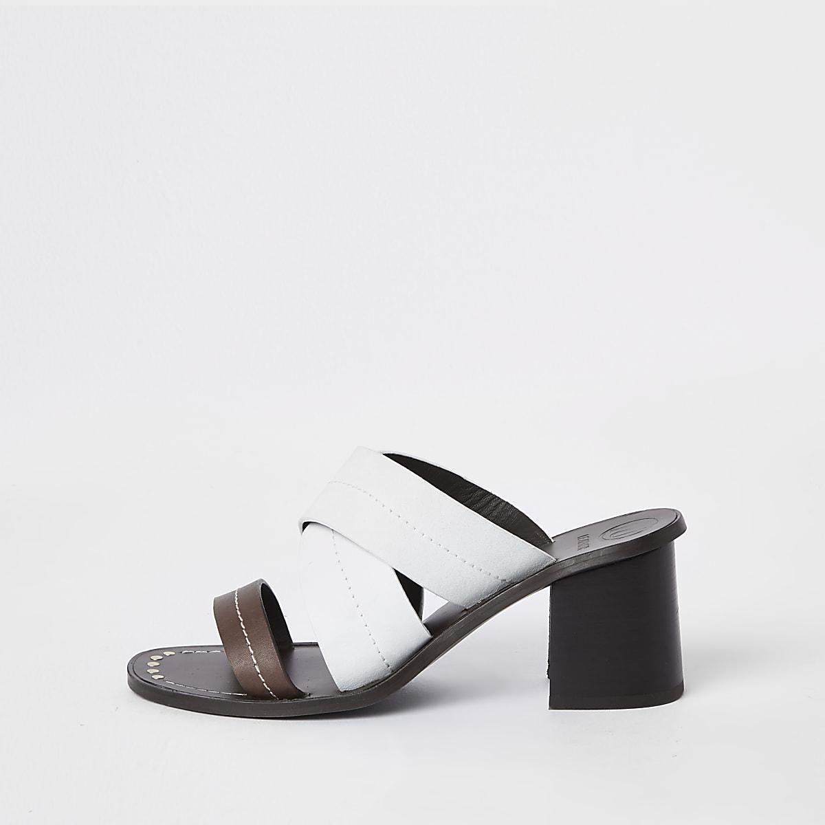 White leather cross heel mule sandals