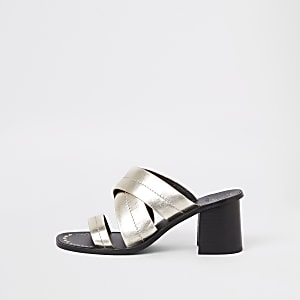 Gold leather triple strap mule sandals