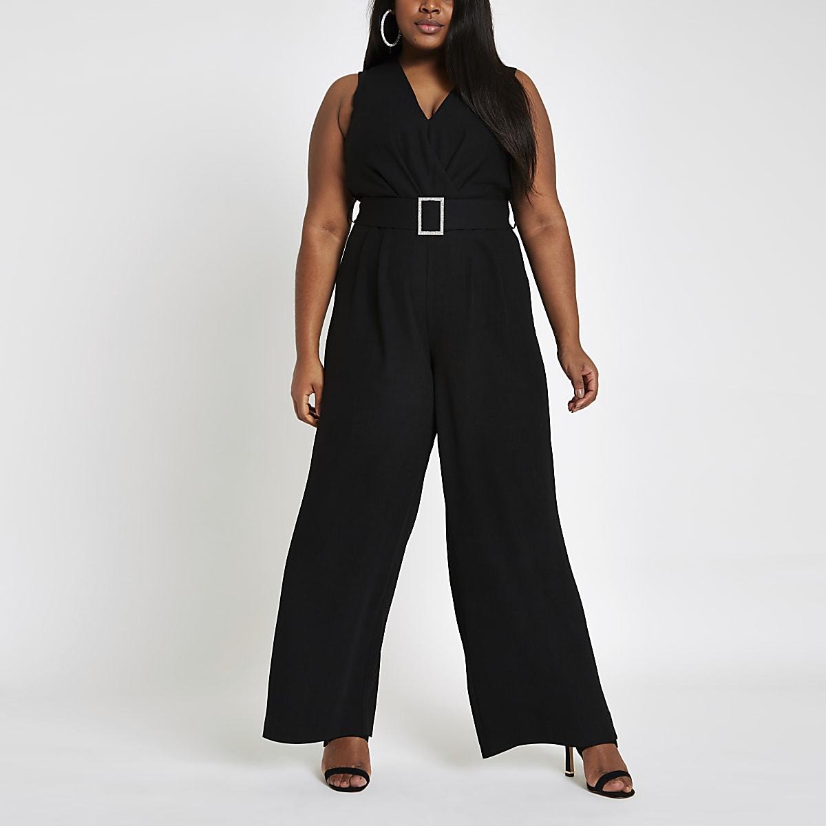 Plus black diamante belted wide leg jumpsuit