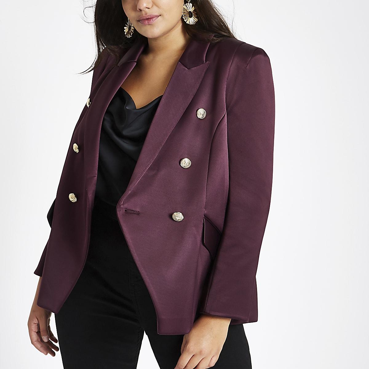 Plus purple satin double breasted blazer