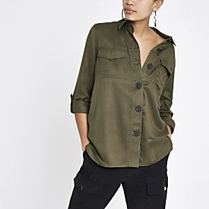 Khaki button front shacket