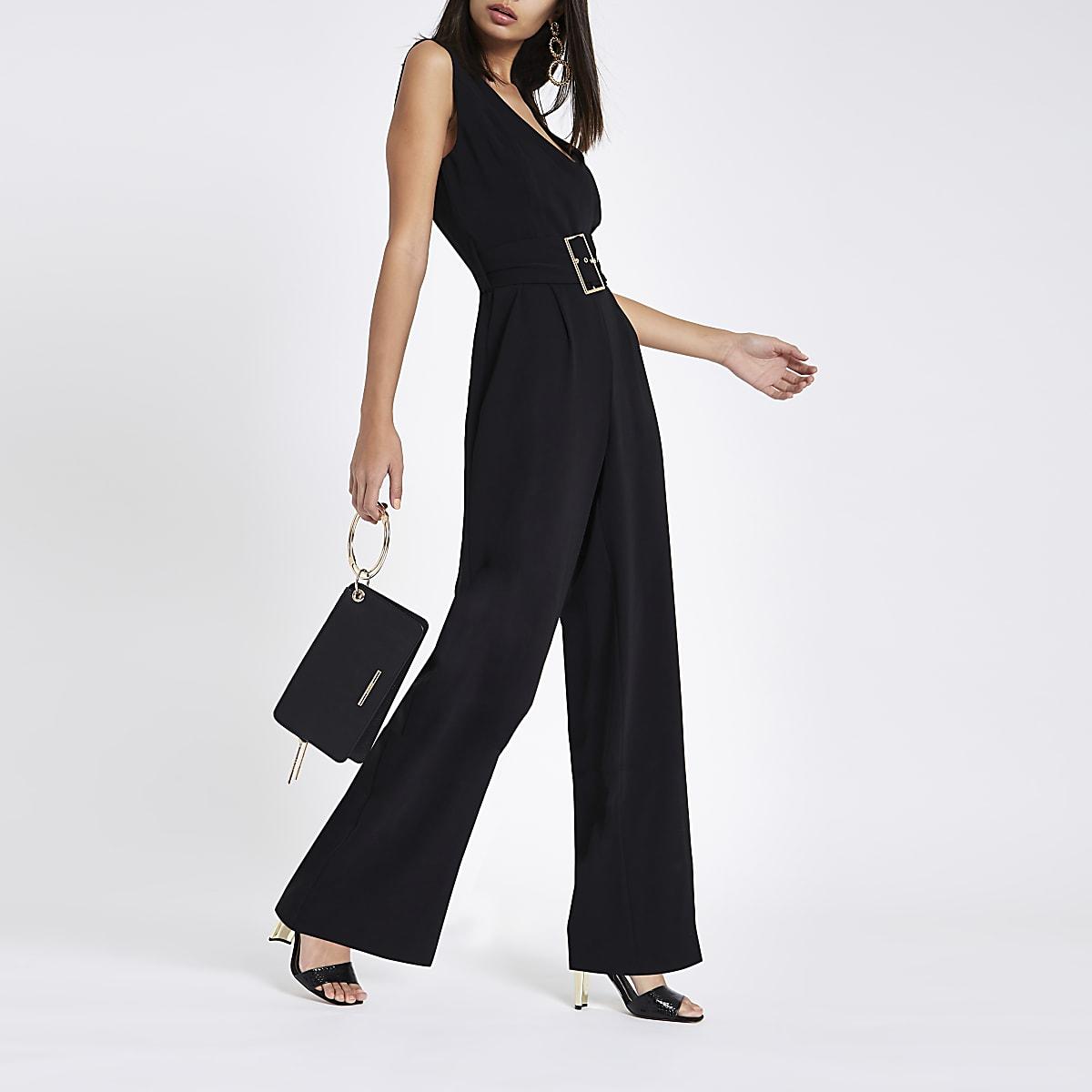 f0426d76019 Black wide leg belted jumpsuit - Jumpsuits - Playsuits   Jumpsuits - women