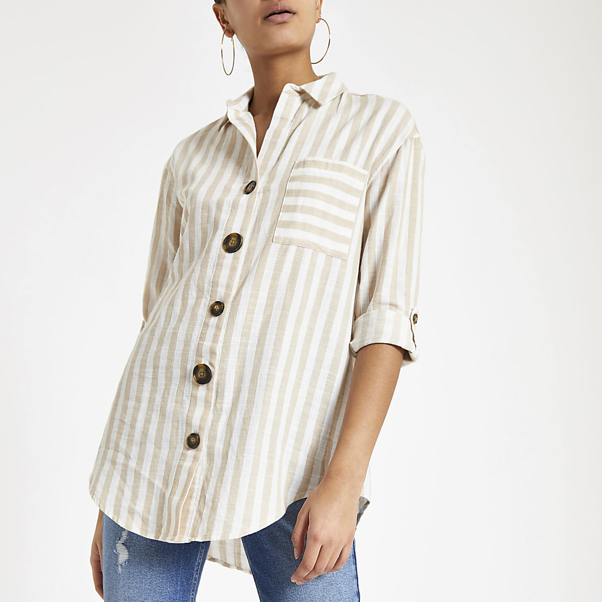 Brown stripe button front shirt