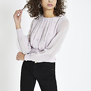 Purple embellished tie back top