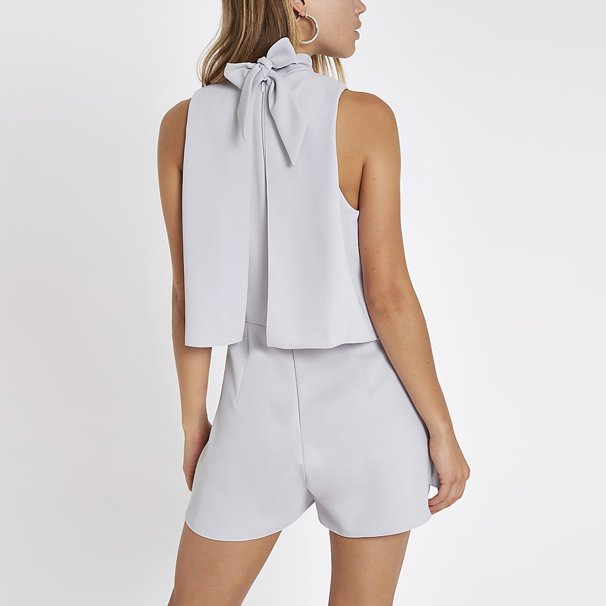 263fe711daa Grey high neck tiered frill playsuit - Playsuits - Playsuits ...