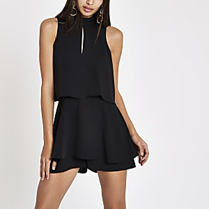 Black high neck tiered frill playsuit