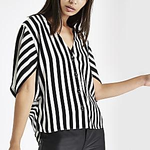 Black stripe button front loose top