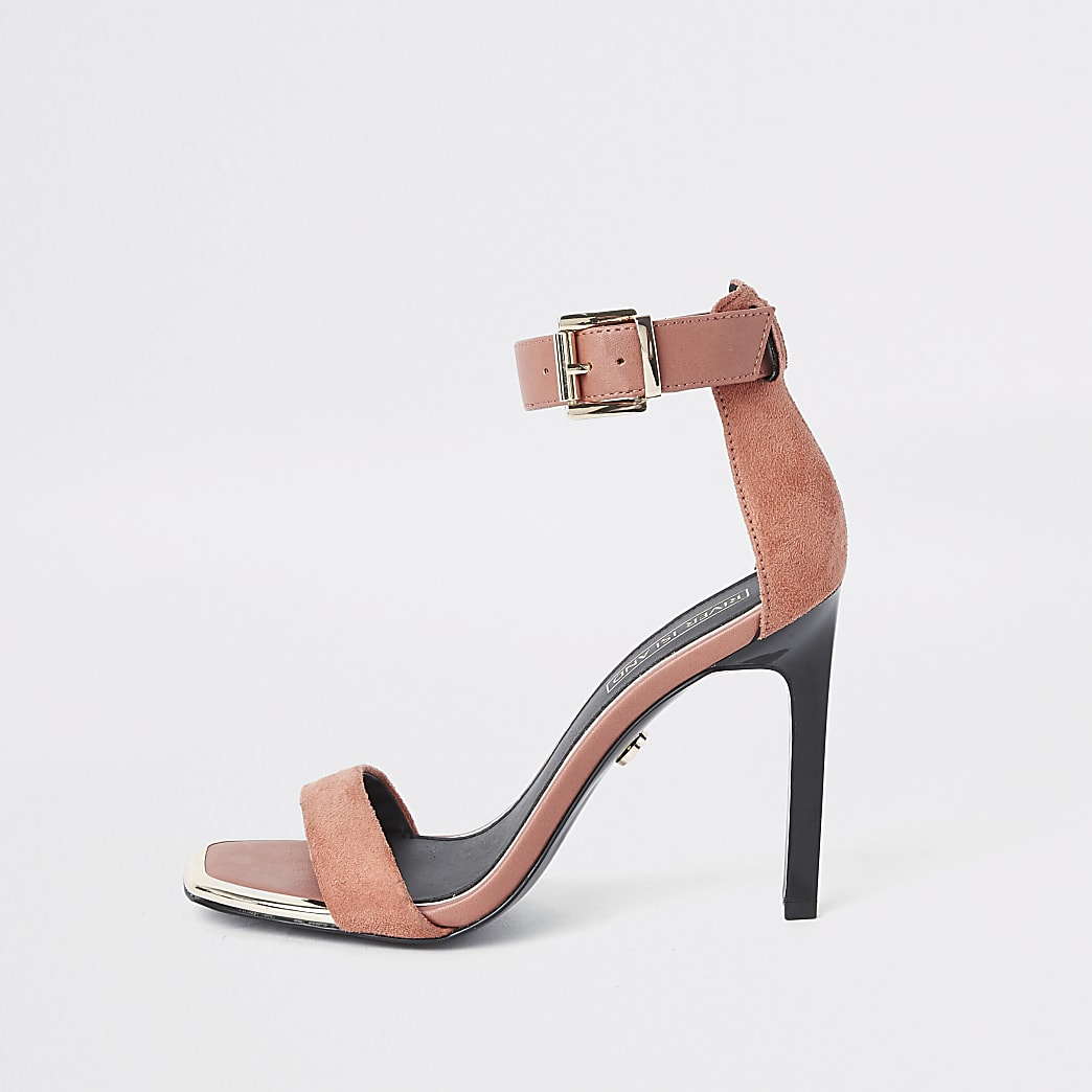 Orange barely there square toe sandals