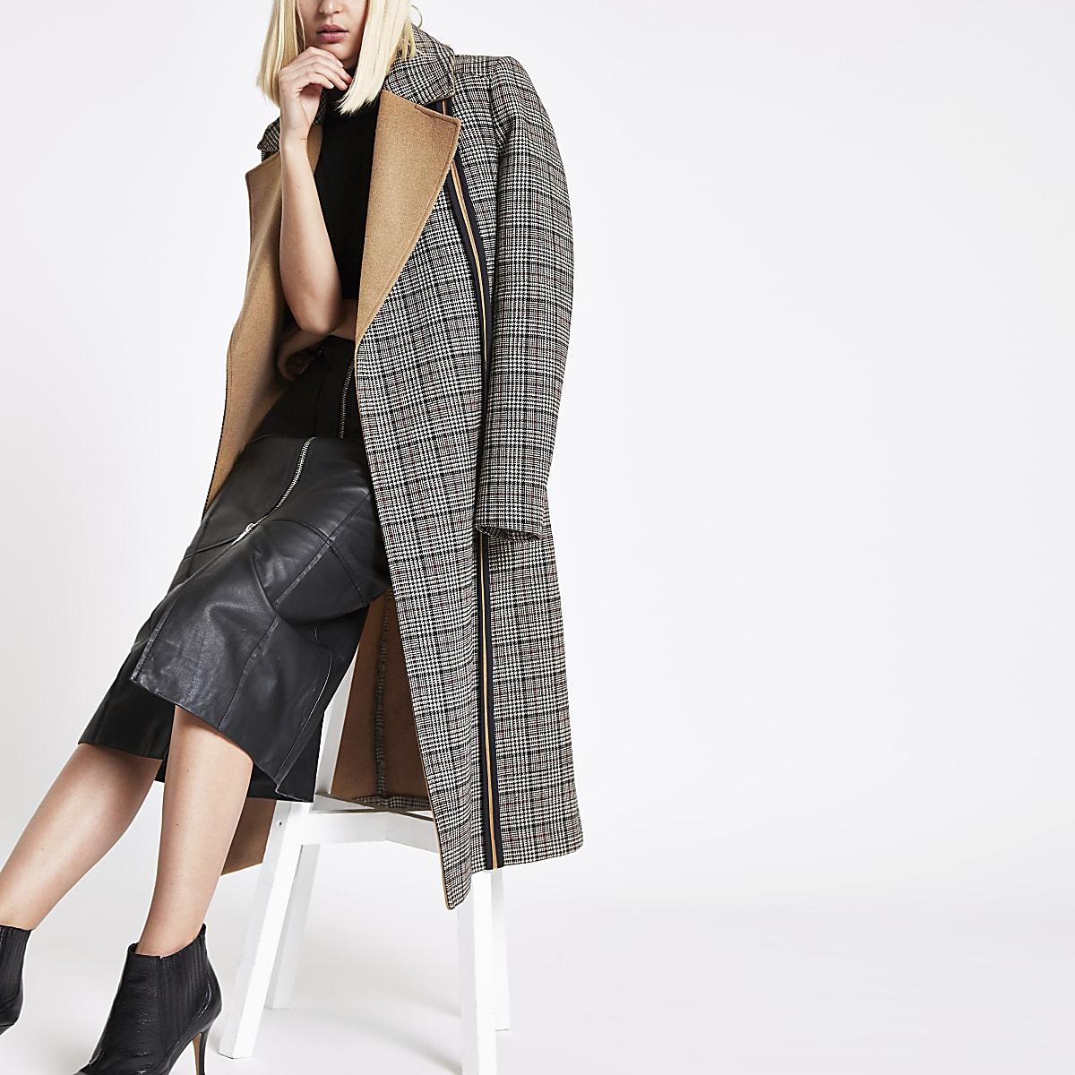RI studio black check tie waist longline coat