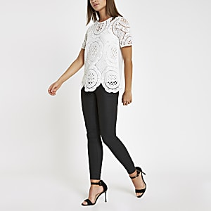 White loose fit lace T-shirt