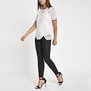 T-shirt ample en dentelle blanc